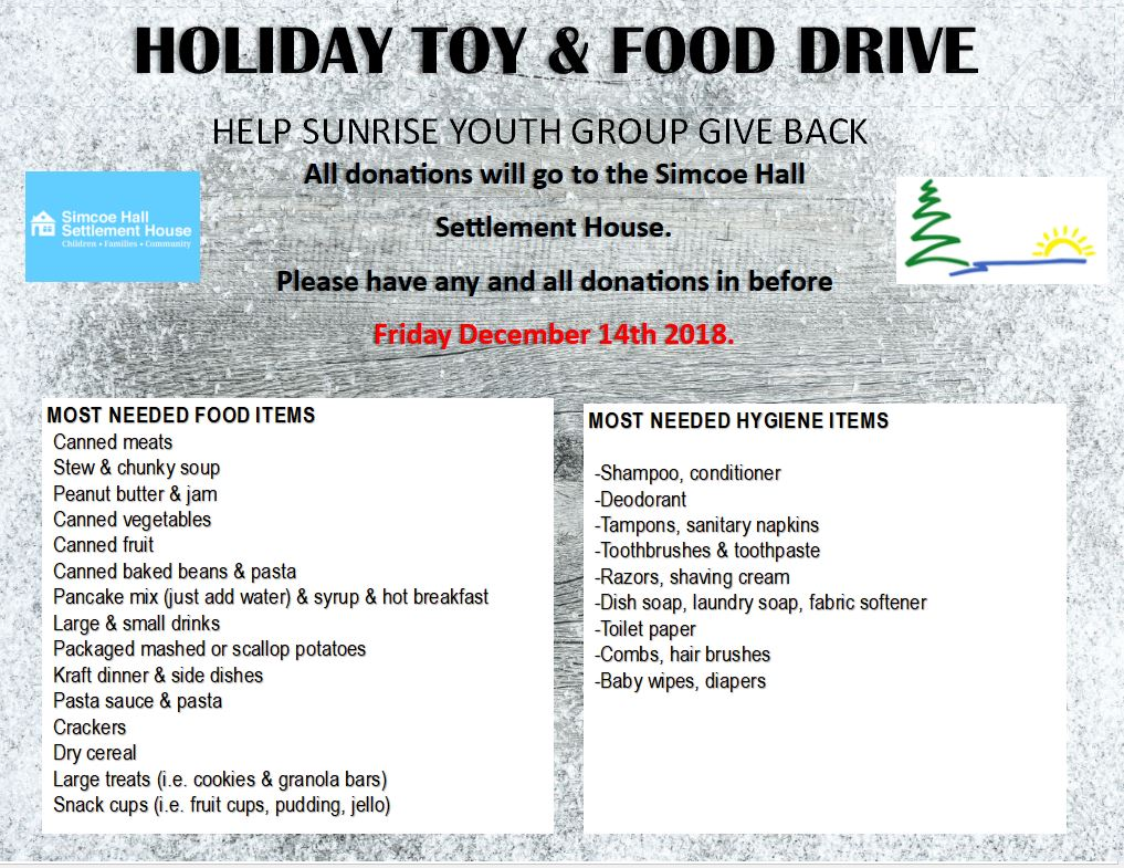 food and toy drive 2018
